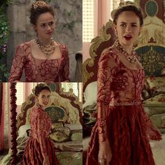 """Every dress Claude ever worn ™ Season episode 02 """"Betrothed"""" Love it so much! She doesn't appear on QOTD💭: Your thoughts about this… Tudor Fashion, Reign Fashion, Fashion Tv, Corset Costumes, Period Costumes, Movie Costumes, Indian Designer Outfits, Designer Dresses, Marie Stuart"""