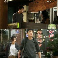 Sun Jae membayar makanan, Si Ahjuma menanyakan apakah wanita itu adalah ibu dan bibinya.   Dengan tegas dia mengatakan kalau mereka sepasang kekasih. Sun Jae tidak sungkan mengandeng tangan Hye Won.