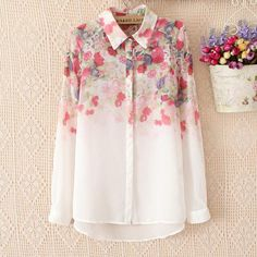 Fashionable woman floral print gradient chiffon blouse