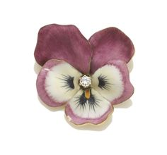 An enamel and diamond pansy brooch, Cartier  signed Cartier, no. 17745; accompanied by signed box; mounted in fourteen karat gold; diameter: 1 1/4in.