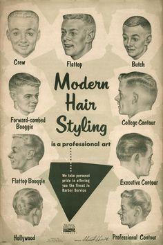 Men's modern hair styles, 1950s