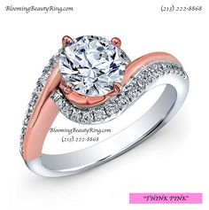 """A beautiful """"two-tone"""" Rose Gold-White Gold wrap around swirl diamond ring with a touch of Halo. Think Pink Ring by BloomingBeautyRing.com (213) 222-8868 #RoseGold #BeautifulRing"""