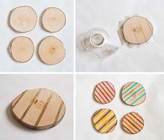 Pointless Pretty Things: DIY Wood Slice Coasters