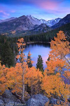 bear lake, longs peak, aspen, sunset, photo