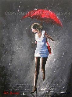 PETE RUMNEY FINE ART MODERN OIL ACRYLIC PAINTING ORIGINAL UMBRELLA RAIN GIRL NEW in Art, Artists (Self-Representing), Paintings | eBay