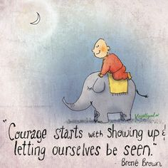 """""""Courage starts with showing up & letting ourselves be seen."""" Brené Brown #BuddhaDoodles"""