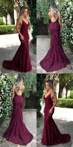 Sexy Prom Dresses, Long Red Lace Prom Dresses, V-neck Mermaid Prom Dresses, Backless Evening Dresses de bal longues Red Lace Prom Dress, Simple Prom Dress, Backless Prom Dresses, Lace Evening Dresses, Cheap Prom Dresses, Mermaid Prom Dresses Lace, Prom Gowns, Sexy Evening Dress, Long Evening Gowns