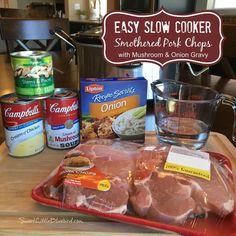 Easy Slow Cooker Pork Chops with Mushroom and Onion Gravy! Comfort food that's simple to make, so good. With just a few ingredients and minutes to whip together, this simple and flavorful slow cooker pork chop recipe is a meal the whole. Crock Pot Slow Cooker, Crock Pot Cooking, Slow Cooker Recipes, Cooking Recipes, Crock Pot Sausage, Easy Crock Pot Meals, Aldi Recipes, Easy Taco Soup, Easy Meals
