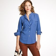Good Colors! Tall Silk Elodie Blouse and pants jcrew