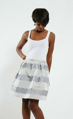 Immediate Shipping Woven/ Stripe/ Grey/ Skirt
