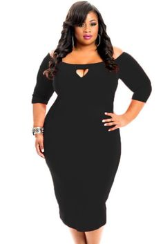 Black Plus Size Bodycon 3/4 Length Sleeve with Keyhole