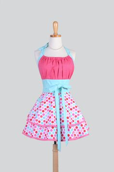 Flirty Chic Apron Lovey Dovey Cotton Candy Pink by CreativeChics, $45.00 #rileyblakedesigns #loveydovey #apron
