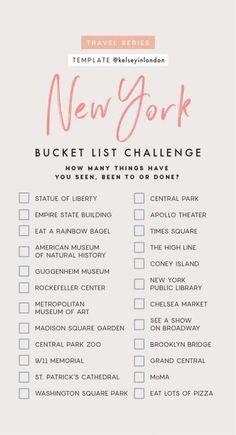 Ny bucket list new york trip, new york city travel, tour new york, Travel Checklist, Travel List, Travel Goals, Solo Travel, Travel Bucket Lists, Holiday Checklist, Usa Travel, Travel Luggage, Travel Essentials
