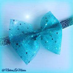 """3/"""" Aqua\White\Aqua Organza Korker Hair Bow Handmade"""