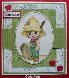 """carlasknutselateljeeke: Cheerful Sketches #35 DT kaart + Inspiratiekaart """"Peerke"""" Kleuren met Potloden"""