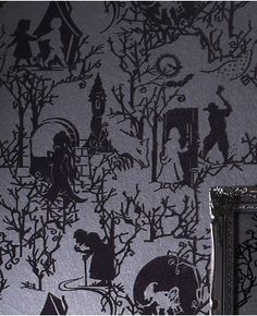 """Fairytoile: Shadow wallpaper by Graham and Brown: """"fairytale folk come out of the darkness of this wonderfully luxurious flock wallpaper"""". Reminiscient of Wanda Gag's woodcuts!"""