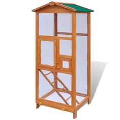 Bird Cage Large Wood Aviary w Metal Grid Flight Cages for Finches Bird House…
