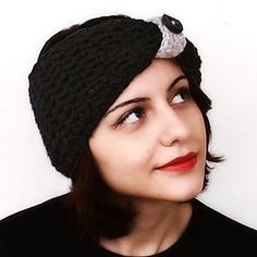 Black Pin-Up Turban Headband by Pinar Vardar