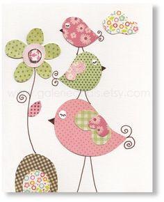 Illustration pour chambre d'enfant fille art bebe Fleurs Oiseaux