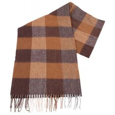 Bassin and Brown Southall Check Cashmere Scarf - Brown/Camel   Bassin and Brown Brown Scarf   KJ Beckett