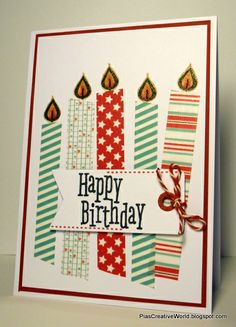 Handmade Birthday card with candles made of Washi Tape. Tag is from Lawn Fawn. Sentiment is from Hero Arts. CAS card.