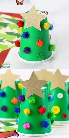 Christmassoonn Paper Cup Christmas Tree   - Christmas Crafts #christmas #christmas decorations #christmas crafts<br> Christmas Tree Crafts, Handmade Christmas, Christmas Decorations, Christmas Paper, Xmas Tree, Holiday Wreaths, Christmas 2019, Christmas Crafts For Kindergarteners, Christmas Crafts For Kids To Make Toddlers