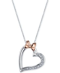Disney Minnie Mouse Bow and Heart Diamond Accent Pendant Necklace in Sterling Silver