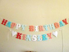 UP TO 21 LETTERS Completely Custom Happy Birthday Fabric Letter Banner plus a name. $39.00, via Etsy.