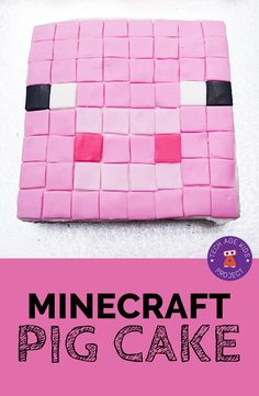 Fun Minecraft Pig Cake for birthday party or school fundraising event. Perfect for Minecraft fans