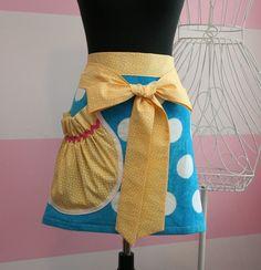 Aprons - Womens Towel Waist Apron - Blue & Yellow Polka Dot.