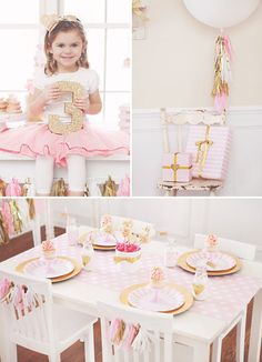 gold glitter and pink birthday party tablscape