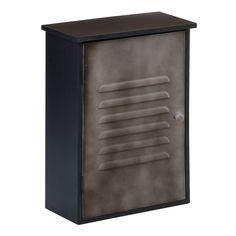 New York Loft Wall Cabinet, 1 Door, Black/Grey Metal