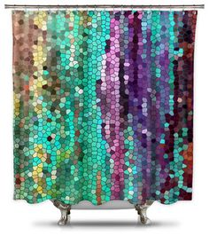 Catherine Holcombe Morning Mosaic Fabric Shower Curtain, Standard Size - modern - Products - Shower Curtain HQ