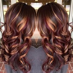 35 Hottest Fall Hair Colour Ideas for All Hair Types 2019 - Hair - Hair Designs Red Highlights In Brown Hair, Brown Blonde Hair, Light Brown Hair, Blonde Highlights, Golden Blonde, Caramel Highlights, Chunky Highlights, Highlights 2017, Light Hair