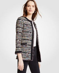 a39d8c80cd1 Shop Ann Taylor for effortless style and everyday elegance. Our Mixed Tweed  Zip Pocket Jacket
