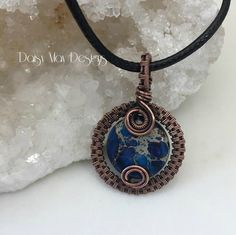 Wire wrapped pendants in copper and sterling silver. Wire Pendant, Wire Wrapped Pendant, Wire Wrapped Jewelry, Wire Jewelry, Jewelry Crafts, Diy Necklace, Washer Necklace, Pendant Necklace, 13 October
