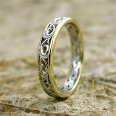 Two-Tone 14K White and Yellow Gold Swirly Flower Patterned Wedding Band with Scroll Work
