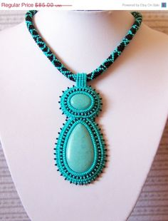 CHRISTMAS SALE Turquoise Necklace Beadwork Bead Embroidery Pendant Necklace with Turquoise - GREEN Alien - turquoise - black on Etsy, $76.50