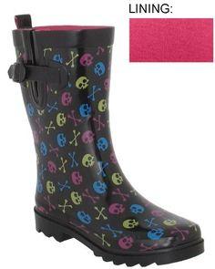 Capelli New York Shiny Multi Skulls Printed Ladies Short Sporty Rain Boots Black Combo 6 Capelli New York. $19.95. Save 43%!