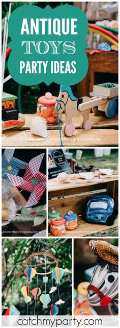 How fun is this birthday party with an antique toy theme! See more party ideas at CatchMyParty.com!