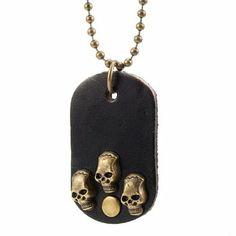 R&B Joyas - Collar hombre estilo vintage, cadena con colgante placa militar, cráneo esqueletos, metal y cuero, color dorado / marrón: Amazon.es: Joyería