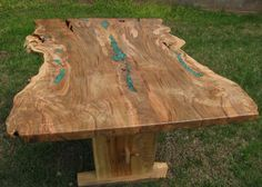 Is it wrong to covet a beautiful table? natural edge with inlaid turquoise!
