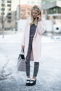 Absolutely beautiful on the street in a patterned look. #NYFW