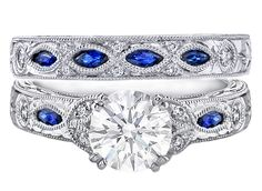 Vintage Design Engagement Ring with Round Diamonds and Marquise Blue Sapphires