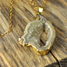 Green Geode Necklace, Green Agate Necklace, Gold Geode Necklace, Gold Agate Necklace on Etsy, $49.00