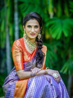 Wedding Saree Blouse Designs, Pattu Saree Blouse Designs, Half Saree Designs, Lehenga Designs, Indian Bridal Sarees, Wedding Sarees, Traditional Silk Saree, Wedding Saree Collection, Girls Frock Design