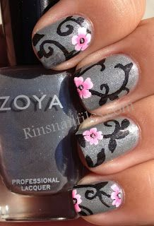 Pink flowers on a black vine with silver background (Zoya Tao mix) - via Rin's Nail Files