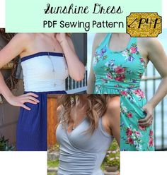This beginner knit pattern isfitted through bodice and semi-fitted at hips. The skirt seam hits at natural waistline, skimming right over that lower belly area for a flattering silhouette. The 3 bodice options will give you so many different looks you can wear one each day of summer, spring break, vacation and no one will know it's the same dress pattern!  Includes strapless, halter, and full tank cross over bodices all with flattering ruching along the side seams. Skirt is a gathered...