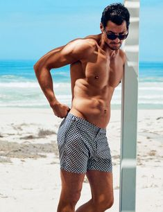 David Gandy models his 2016 swimwear collection from the Gandy For Autograph line for Marks and Spencer. David has incorporated new patterns and colors this season, expanding on the success of last collection David Gandy, Sean O'pry, Jarrod Scott, Hommes Sexy, Swimwear Fashion, Men's Swimwear, Mannequins, Swim Shorts, Summer Shorts