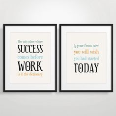 Office Decor Typography Posters, Inspirational Quote Art, Motivational Print - Set of 2